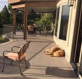 Duradek decking is cool on paws and pet friendly