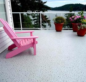 Duradek Supreme Chip Granite Vinyl Decking and Glass Railing with White Posts