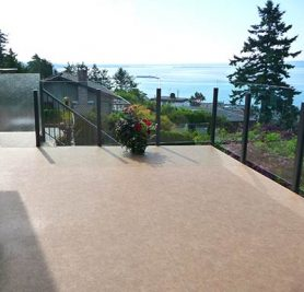 Topless Glass Railing System Combining Clear and Frosted Glass